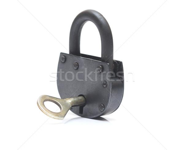 Vintage замок изолированный белый безопасности ключевые Сток-фото © inxti