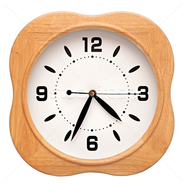 Big wood wall clock on white, isolated Stock photo © inxti