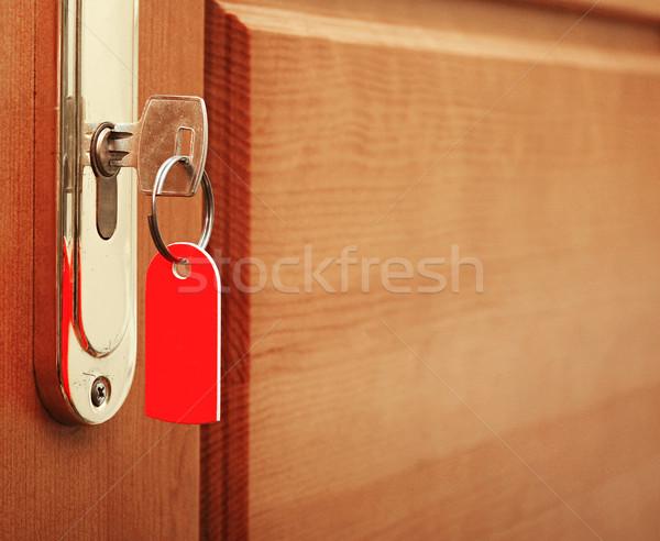 Clé serrure étiquette bureau chambre hôtel Photo stock © inxti