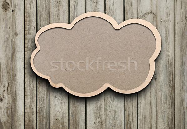 Gerecycleerd papier tekstballon hout business frame Stockfoto © inxti