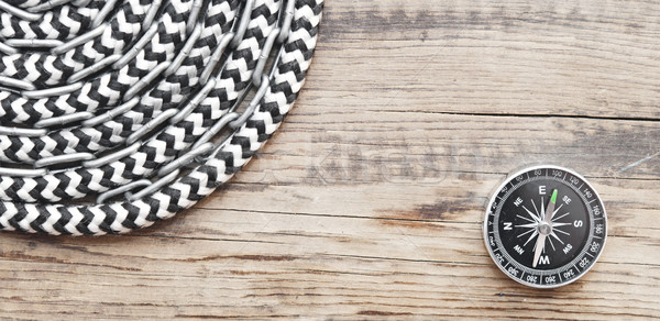 marine roll ropes and chain on wooden background Stock photo © inxti