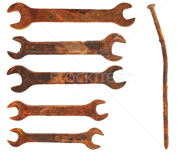 set very old rusty wrenches and rusty nail, isolated on white ba Stock photo © inxti
