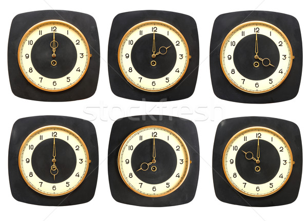 Collection old clocks wall on white background. Timezone clock Stock photo © inxti