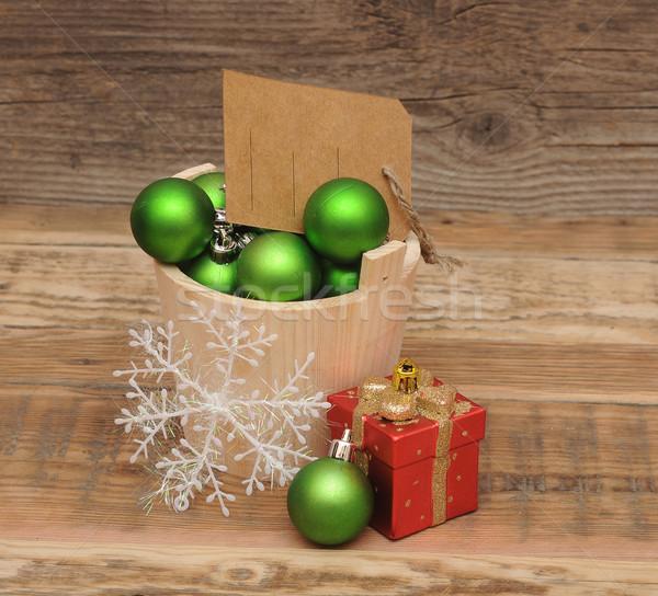Photo stock: Noël · décoration · prix · tag · bois · planche