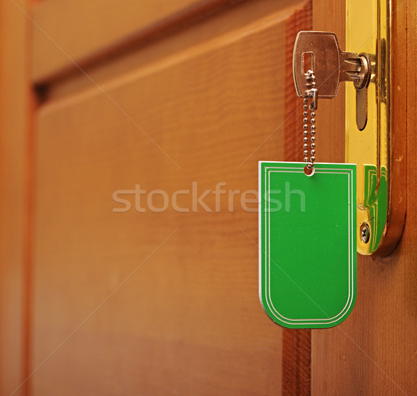 key in keyhole with blank tag Stock photo © inxti