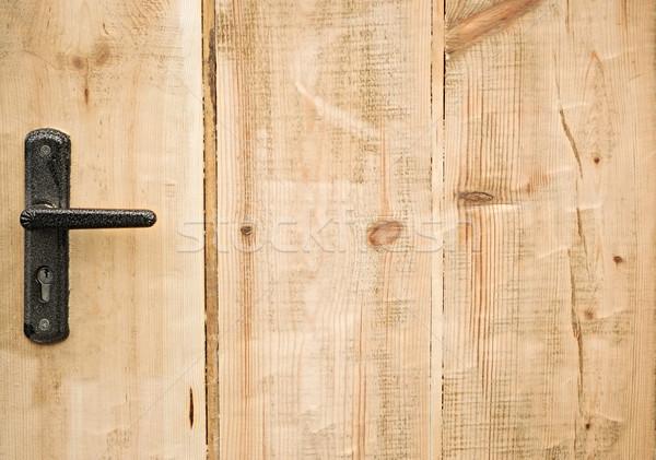 Modern style door handle on natural wooden door Stock photo © inxti