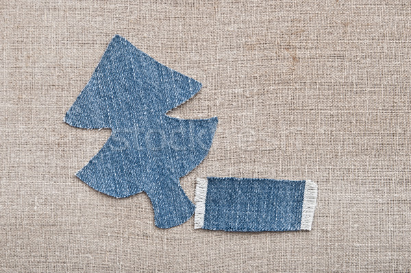 christmas background: jeans texture with shape Christmas tree on Stock photo © inxti