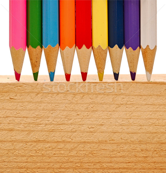 color pencils on wood background  Stock photo © inxti