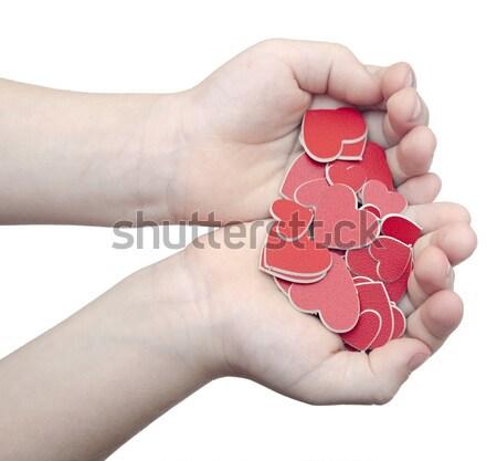 Stok fotoğraf: Eller · çok · kırmızı · kalpler · beyaz