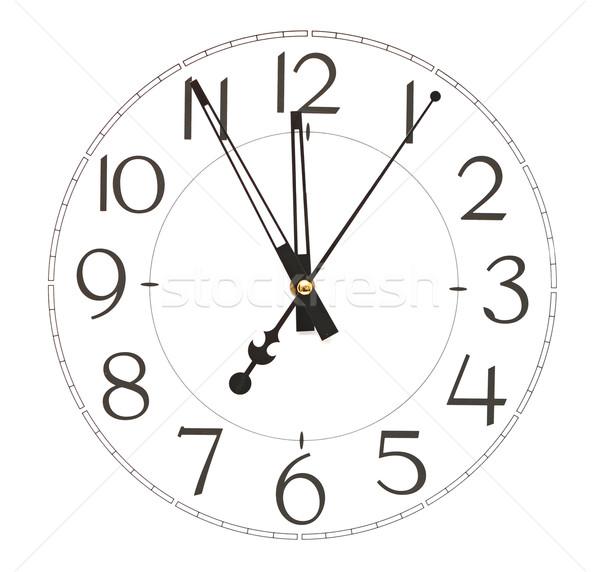 Stockfoto: Kantoor · klok · geïsoleerd · witte · muur · tijd