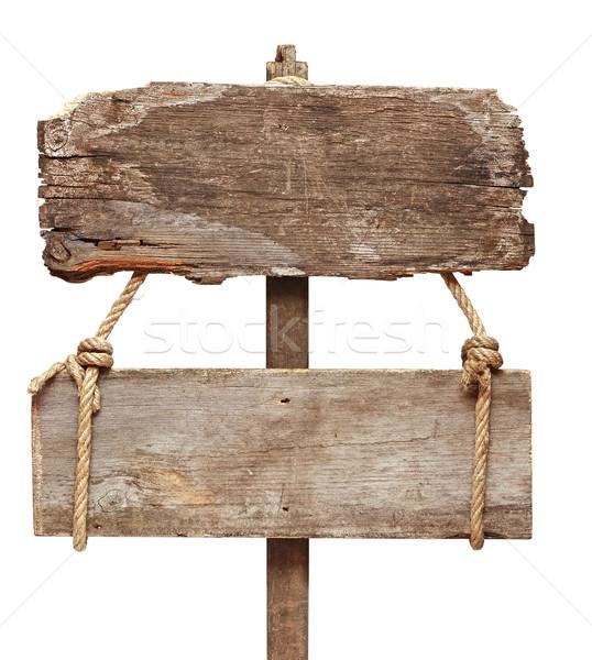 Eski ahşap tabelasını yalıtılmış beyaz ahşap Stok fotoğraf © inxti