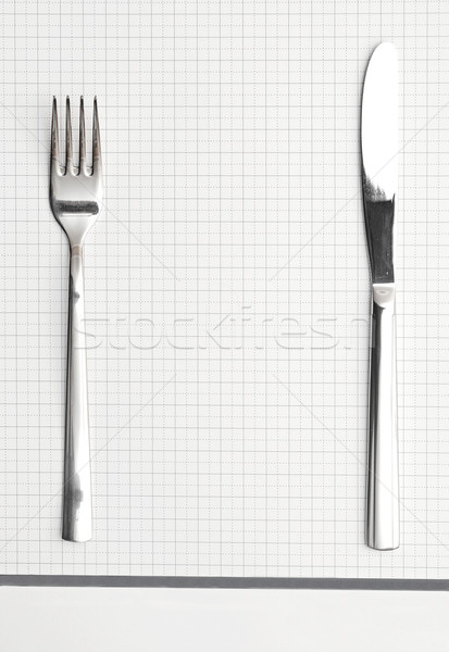 Flatware on white background. Fork and knife Stock photo © inxti