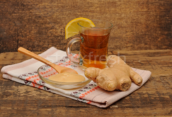 glass of ginger tea with honey and lemon - tea time Stock photo © inxti
