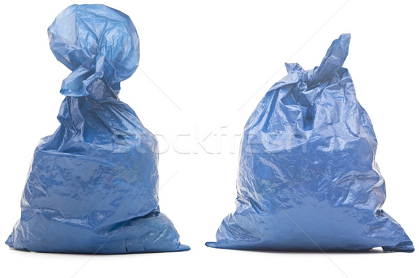 blue garbage bag with trash isolated on white  Stock photo © inxti
