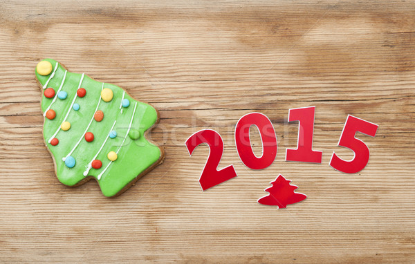 Christmas 2015 cookie on wooden table  Stock photo © inxti