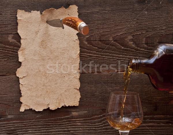 Stockfoto: Oud · papier · houten · muur · mes · glas · spatten