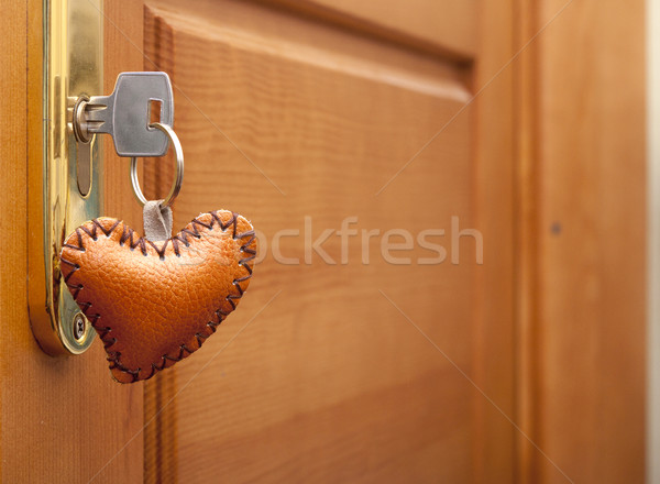 wooden door lock with a heart shaped key-ring   Stock photo © inxti