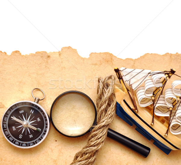 rope, loupe, compass and model classic boat Stock photo © inxti