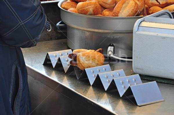 хот-дог продовольствие сэндвич приготовления Кука быстро Сток-фото © inxti