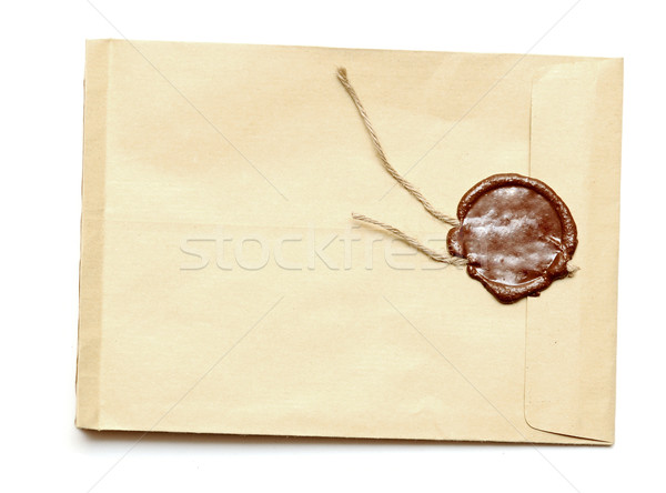 red wax seal on yellow envelope Stock photo © inxti