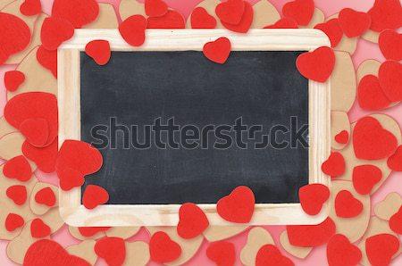 blank chalkboard over Valentine hearts background Stock photo © inxti