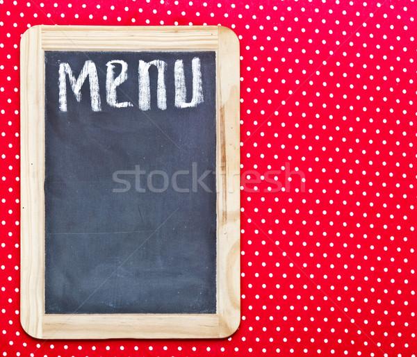 Menu title written with chalk on blackboard  Stock photo © inxti