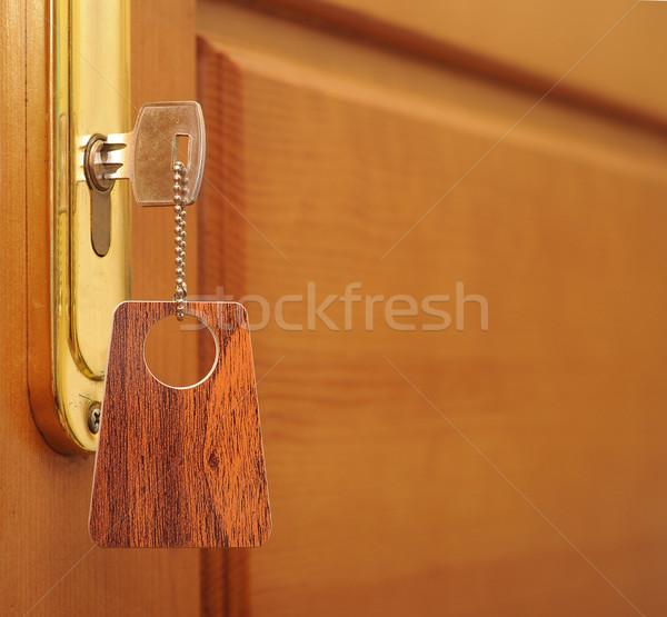 Clé serrure tag bureau design maison Photo stock © inxti