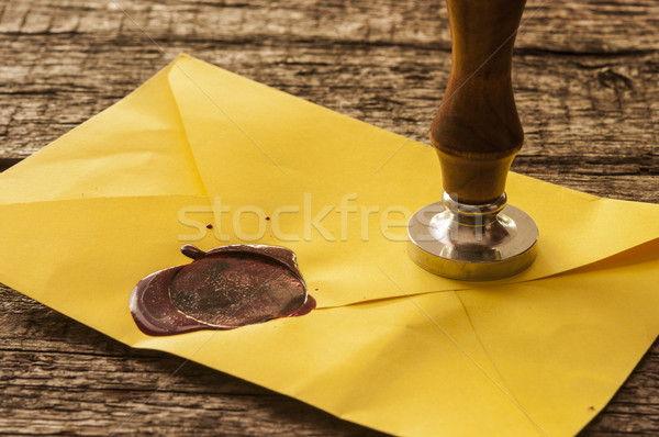 old mail envelope with red wax seal stamps Stock photo © inxti