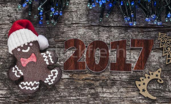 пряничный Cookies Рождества деревянный стол домашний торт Сток-фото © inxti