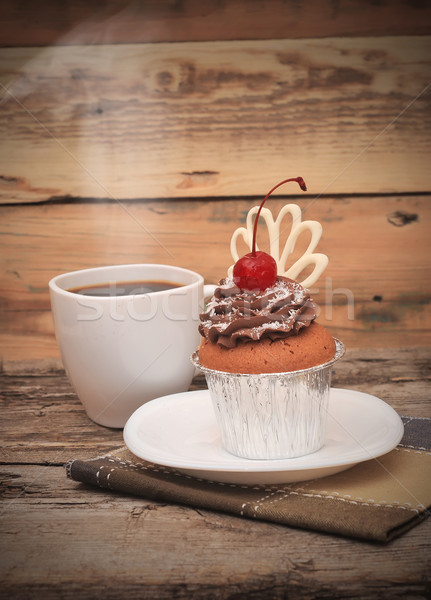 chocolate cake on the white plate with a cup of coffee  Stock photo © inxti