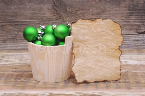 Photo stock: Noël · décoration · table · en · bois · mur · résumé · balle