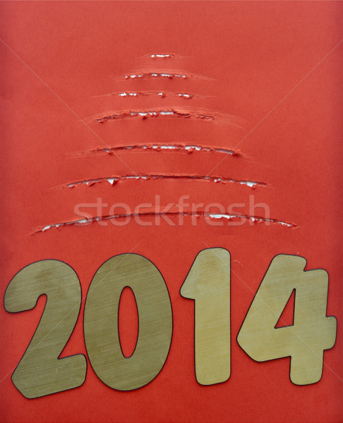 Torn paper christmas tree with two thousand fourteen New Year nu Stock photo © inxti