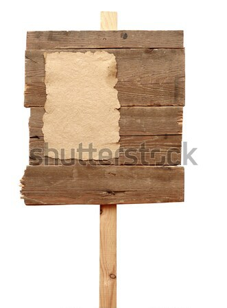 road sign with old paper isolated on a white background Stock photo © inxti