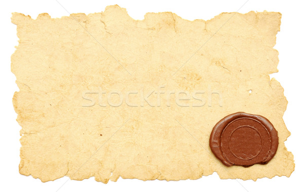 Stock photo: old paper with a wax seal