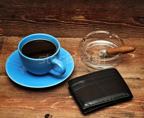 coffee, cigars and purse Stock photo © inxti