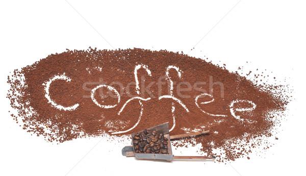 Minyatür model el arabası kahve çekirdekleri kahve imzalamak Stok fotoğraf © inxti