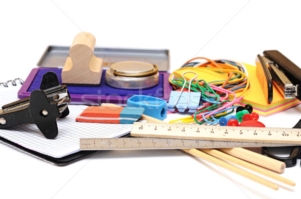 Veel kantoor tools witte school pen Stockfoto © inxti