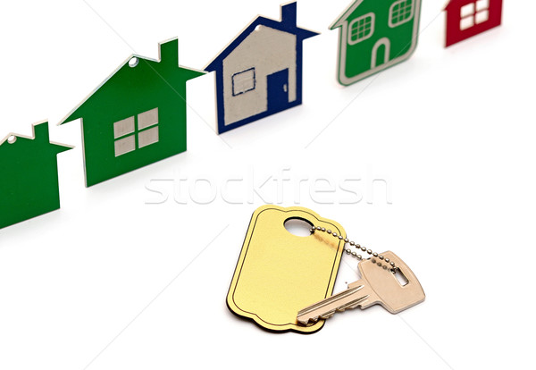 model house symbol set and key with blank label Stock photo © inxti