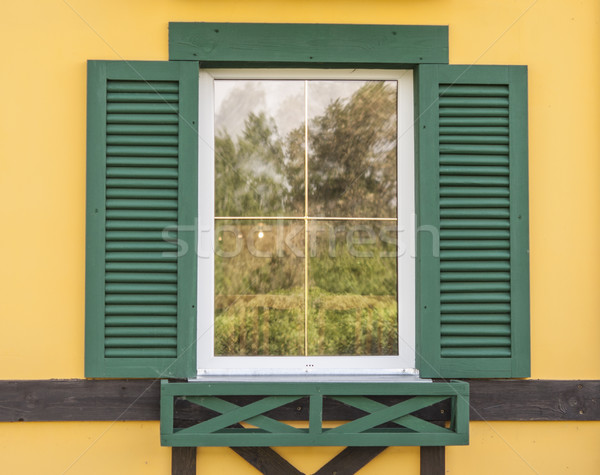 Window with open wooden shutters Stock photo © inxti