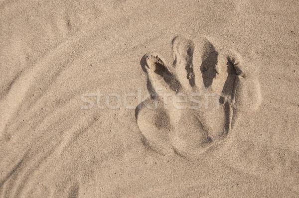 Lábnyomok homok tengerpart háttér nyár felirat Stock fotó © inxti