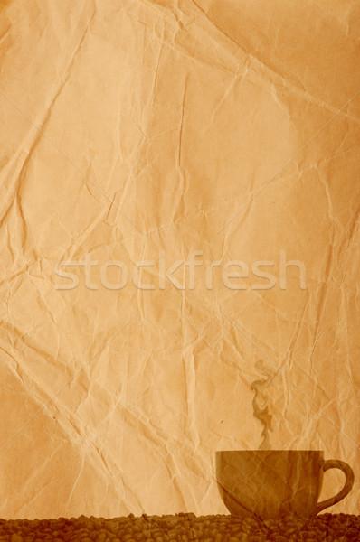 Granos de café pergamino papel alimentos café fondo Foto stock © inxti