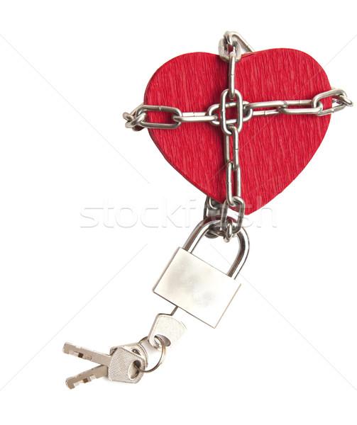 Piros szív zárolt lánc fehér szeretet Stock fotó © inxti