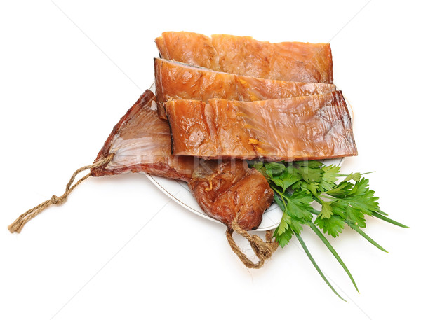 fillet smoked fish on a white background Stock photo © inxti