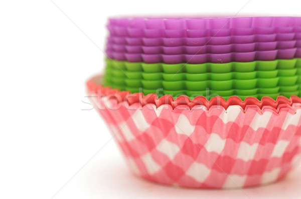 baking cups for cupcakes or muffins paper isolated on white Stock photo © inxti