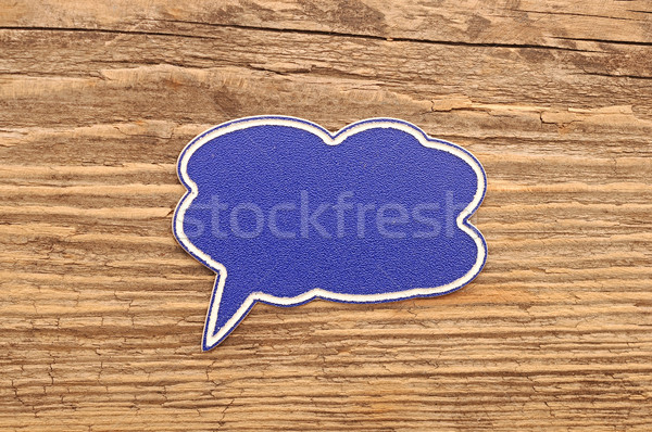 речи пузырь древесины бизнеса аннотация фон синий Сток-фото © inxti