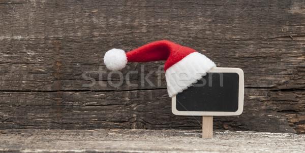 Karácsony ünnep mikulás kalap díszítések dekoráció Stock fotó © inxti
