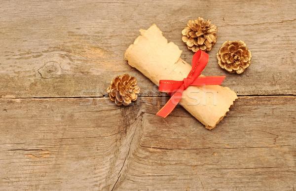 Vintage бумаги катиться золото старое дерево природы Сток-фото © inxti