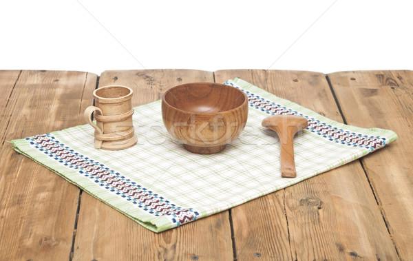 Holz Küche Besteck Tischdecke Holztisch Essen Stock foto © inxti
