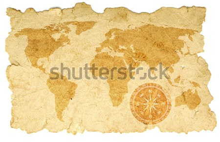 Old map on canvas with windrose Stock photo © inxti
