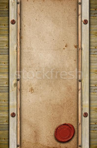 Vieux papier sceau cire bois résumé fond Photo stock © inxti